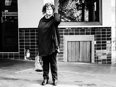 Thinking (Vincent Albanese) Tags: street shadow people bw wall fuji markets sydney inspired streetphotography fujifilm x20 peoplewatching lightroom