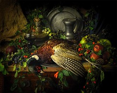 Pheasant Feast (V2) (GARY HICKIN (GAZART)) Tags: stilllife bird pheasant food nature autumn berries roemer glass art oldpewter plate feather apple wine candle lowlight rosehip sloe blackberry eldeberry pinecone hessian red green leaves scads feast meal candlestick headgerow fruit