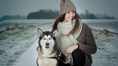 Friends (II) . . . (Geraldos ) Tags: annefleur storm dog husky landscape area winter cold frozen together love beloved mood atmosphere portrait strong sterk blik look nikon105mmf2ddc nikon d800 geraldos geraldemming