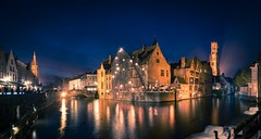 Blue and Orange on the Belfort of Bruges (NOAC_) Tags: bruges belgium classic night nocturnal dusk sunset bluehour europe panorama beautiful explore explored pentaxk5iis skyline cityscape city medieval