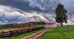 IMG_2097-98Ptzl1scTBbLGE (ultravivid imaging) Tags: ultravividimaging ultra vivid imaging ultravivid colorful canon canon5dmk2 clouds stormclouds fields farm trees autumn autumncolors rural scenic vista sunsetclouds landscape road barn