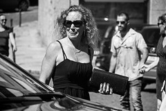 Lip Up (Ktoine) Tags: street blackandwhite face sunglasses candid curly car bag fingers portrait