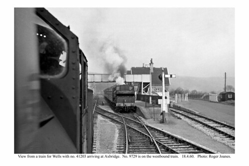 Axbridge. Trains passing. 18.4.60