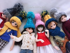 """Thanks mom for knitting pompon beanies for us!!"" :D (cute-little-dolls) Tags: beanie kitting handmade ruruko pureneemo excute rurukoboy kawaii toy doll"
