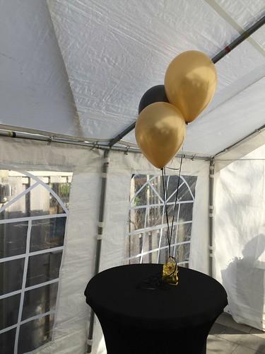 Tafeldecoratie 3ballonnen Goud Zwart