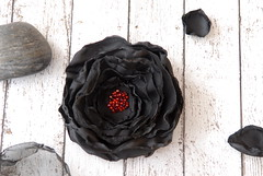 Black flower with red beads (osnat.ganor) Tags: blackflower flowerbrooch odpaam