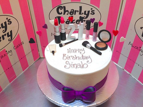 Single Tier MAC Make Up Themed 21st Birthday Cake Iced In White Butter Icing With
