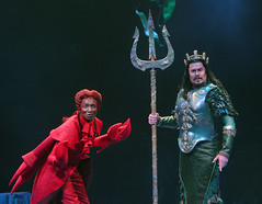 "Kevin Smith Kirkwood and Merwin Foard as Sebastian and King Triton in the Music Circus production of ""The Little Mermaid"" at the Wells Fargo Pavilion July 10-22. Photo by Charr Crail."