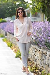 blush silk blouse, grey denim, studded bag.jpg (LyddieGal) Tags: pink fashion grey spring outfit pastel style grayson denim wardrobe tjmaxx rayban studded lineapelle maxstudio officestyle ccskye coloreddenim