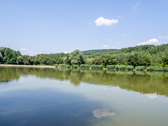 Lake Orfű (zsonemes) Tags: travel blue summer sky cloud hot reflection travelling green tourism nature clouds pen reflections lite nice europe hungary view cloudy young olympus summertime amateur pécs orfű zd epl5