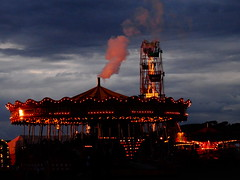 Sunset, Cumbria Steam Gathering 2015 (2) (Janpram) Tags: sunset clouds carousel bigwheel funfair stormysky darkclouds stormclouds darksky steamfair vintagefunfair cumbriasteamgathering vintagefairground