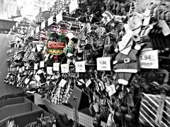 Overwhelmed (Corgibird) Tags: christmas christmashumor ornaments glassornaments glass holidays festivus shopping walmart round colorful blackandwhite purple santa rudolph reindeer sleigh angels transformer startrek surreal whimsy lines light dark clutter balls