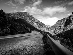 hit the road (geo_christoforakis) Tags: rethymno crete greece monochrome blackandwhite bw roadtrip road mountain outdoor outdoors nature kourtaliotis gorge canon canonpowershotsx60hs