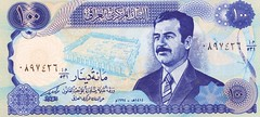 Helicopter Money / Iraq - Saddam x 100 (ramalama_22) Tags: gulf war mid east middle iran iraq ayatollah khomeini saddam hussein george bush pysch ops inflation social unrest helicopter money replica fake countefeit currency central bank 1994 spider hole mustache cleft chin