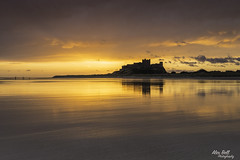 Sunrise over Bamburgh Castle (Alex365pix) Tags: bamburgh seascapes sunrise northumberland northeastcoast reflections clouds leefilters nikon