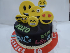 Emoji cake (Victorious_Sponge) Tags: emoji birthday cake text speak omg lol
