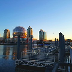 Sunrise on Science World (SCMowbray) Tags: falsecreek scienceworld vancouversunrise vancouver bc water ocean vancouverbc samsunggalaxys7 oceanview