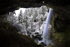 North Falls from inside the cave (Mstraite) Tags: snow winter cold ice water waterfall oregon silver river canon tripod slow contrast black