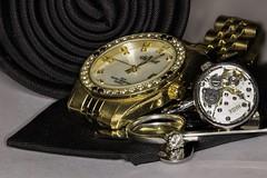 Sharp dressed man (Robert James Brown) Tags: gold ring cufflink diamond automatic watch jewellery zztop canon7dmk2 sigma 105mm focusstack inspiredbyasong macromondays