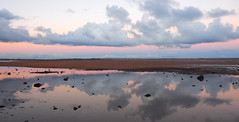 Facing west at Sunrise - Wellington Point (Lesmacphotos) Tags: wellingtonpoint sunrise beach sea landscape water clouds west reflection mirror pink