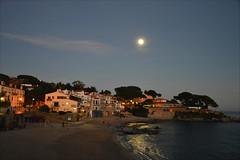 Winter moon (angelsgermain) Tags: moon evening bluehour sky winter light beach sea houses pinetrees sand rocks elcanadell calelladepalafrugell mediterranean baixempordà catalonia catalunya