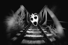 Spiderqueen (trx_850) Tags: horror bw bridge shock railway night longtimeexposure lzb lte face girl fear surreal pixelstick
