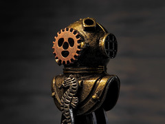 Steampunk diving helmet (*Millie* Catching up slowly!) Tags: raynoxdcr250 steampunk deepsea helmet bronze brass gear seahorse diving pendant macromondays contraption macro metal depthoffield