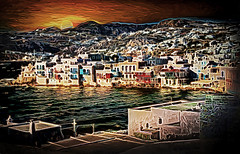 Mykonos Moonlight (D'ArcyG) Tags: mykonos greece abstract impression vivid moonlight moon