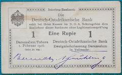 1916-DEUTSCH-OSTAFRIKANISCHE-BANK-EINE-RUPIE-E3-OBVERSE-377-D10 (noteworthycollectibles) Tags: germany paper deutschland mark silk imperial currency banknote notgeld seiden pfennig hyperinflation badische reichsbank emergencymoney darlehnskasse