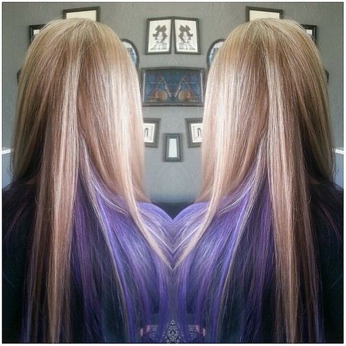 Long Platinum Blonde Highlights With Purple Peek A Boo A Photo On
