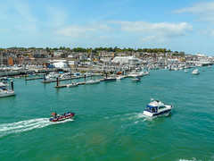 Isle of Wight - Harbour (Mayur Shivz - Photography) Tags: city red england seascape english port town view harbour united kingdom panasonic isle channel funnel wight fz18