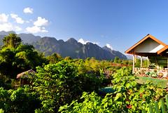 Vang Vieng (makingacross) Tags: laos pdr nikon d3000 vang vieng vangvieng mountains sky trees clouds