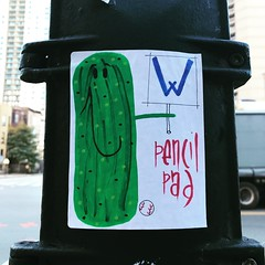 (a real tomato) Tags: streetart chicago graffiti sticker pencilpad w chicagocubs pickle