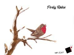 perky robin (-sebl-) Tags: bird origami sebl paper crumpled kraft alios recycling winter snow white red brown