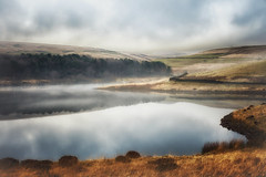 Silence......... (Missy Jussy) Tags: landscape grass water reservoir piethorne piethornevalley trees shoreline hills hillside farmland fog silence sky reflections ogden lancashire land rochdale denshaw england canon canon50mm 50mm canon5dmarkll
