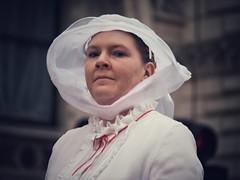 Parader (Feldore) Tags: parade new years day london lord mayor woman vintage eye contact hat veil england english feldore mchugh em1 olympus 1240mm
