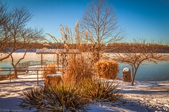 A Cold Morning (kmac1960) Tags: snow winter water lake landscape kansas canon sky blue tree color