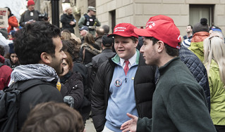 Donald Trump Supporters Talk with Protesters Outside the 2017 Presidential Inauguration