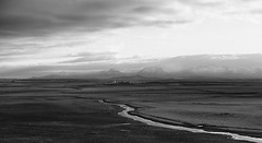 Someone's home sweet home (lunaryuna (off to the Lofoten)) Tags: iceland northwesticeland landscape valley mountainrange river farm solitude isolation sky clouds lightmood panoramicviews blackwhite bw monochrome lunaryuna