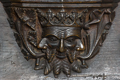 'Green Man' misericord, choir of Cartmel Priory,  Cumbria, UK (Ministry) Tags: greenman misericord cartmel priory church stmary stmichael cumbria uk oak seat