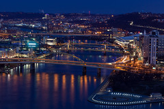 Evening covers our city (kwtracyghostship) Tags: pennsylvania westernpa pa bluehour alleghenycounty pittsburgh kwtracyghostship unitedstates us bridges colorful lively cityscape downtown blue rivers night evening slowshutter lighttrails thepoint pncpark canon eos 5dmkii 100400l shimmering reflections