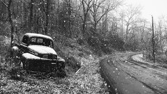Old rag on the side of the road (jon boat joe (pro)) Tags: virginia ford truck abandoned road snow blackandwhite vehicle