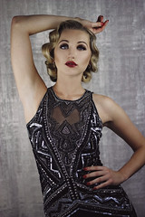 (Kirsty Corbett) Tags: 1920s red girl fashion vintage hair studio shoot finger great makeup wave lips professional editorial backdrop flapper gatsby