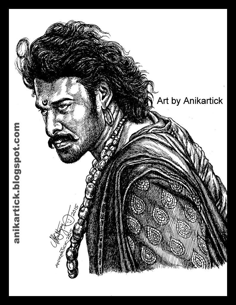 Baahubali prabhas s s rajamouli art drawing pen drawing sketches