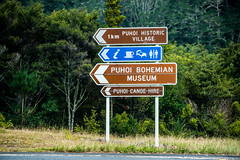Puhoi (John Willoughby) Tags: road newzealand sign museum village historic canoe auckland hire puhoi