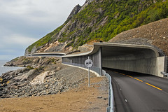 Route E10. Lofoten, Norway. (flyingskogan) Tags: road travel summer sign norway concrete coast traffic transport tunnel arctic coastal transportation asphalt skilt vei lofoten reine nordnorge reise asfalt moskenes