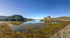 Eilean Donan Panorama (Kev Gregory (General)) Tags: eilean donan recognised iconic images scotland world situated island point three great sea lochs meet surrounded some majestic scenery wonder castle visited important attraction scottish highlands first inhabited 6th century fortified built mid 13th stood guard over lands kintail versions feudal history unfolded centuries destroyed jacobite uprising ruins lieutenant colonel john macraegilstrap bought restore former glory constables kev gregory canon 7d