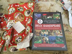 Brick Shakespeare (splinky9000) Tags: kingston ontario christmas day 112516 gifts presents unwrapping opening brick shakespeare book lego retelling minifigures four tragedies and comedies hamlet macbeth romeo juliet julius caesar a midnight summers dream tempest much ado about nothing the taming of shrew to colin love mom dad dog wrapping paper