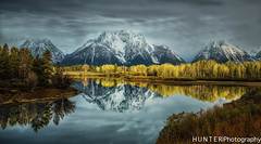 Oxbow Bend (gwhunter1) Tags: water reflections tetos fallcolors oxbowbend snow clouds