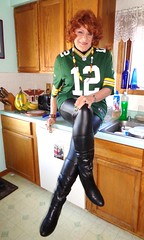 Slippery Counter Girl (Laurette Victoria) Tags: leggings boots packers jersey kitchen auburn laurette woman